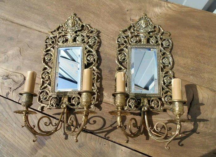 【波賽頓-歐洲古董拍賣】歐洲/西洋古董法國古董 帝國風格 黃銅天使鏡子壁燈/燭台一對2燈(尺寸:43x22×11cm)