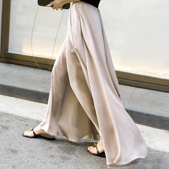 Modem Girl♥100%實拍 超美 鬆緊腰圍雪紡闊腿褲 (兩色-特價)