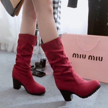 yes99buy加盟-素面高跟中筒女靴