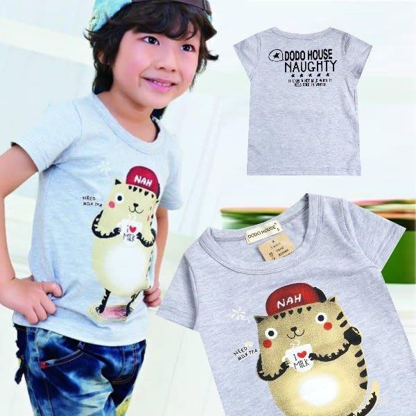 【班比納精品童裝】熱牛奶貓咪T-灰/黑 二色可選【BN150424002】