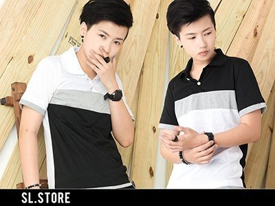 SL Store【CPL1493】韓版百搭色塊拼接設計休閒POLO衫‧白/黑/M/L/XL/2XL