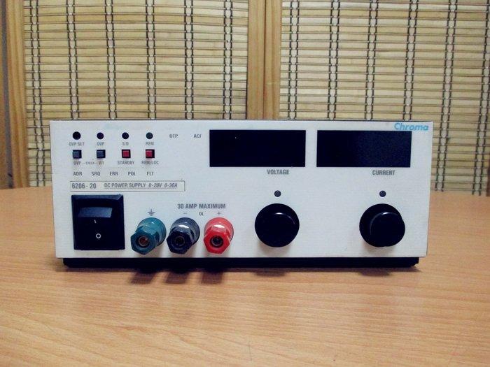 康榮科技二手儀器領導廠商Chroma 6206-20 20V 30A DC Power Supply