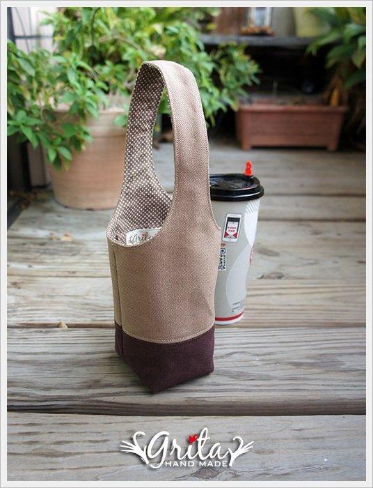 ♥grita's handmade♥手作環保飲料提袋/手搖杯/環保杯袋/隨身提包/帆布包—可可+咖啡雙色(預購)