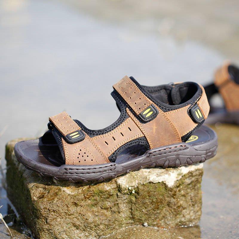 2018夏季爆款男涼鞋真皮羅馬涼鞋男韓版時尚休閑牛皮露趾涼鞋批發