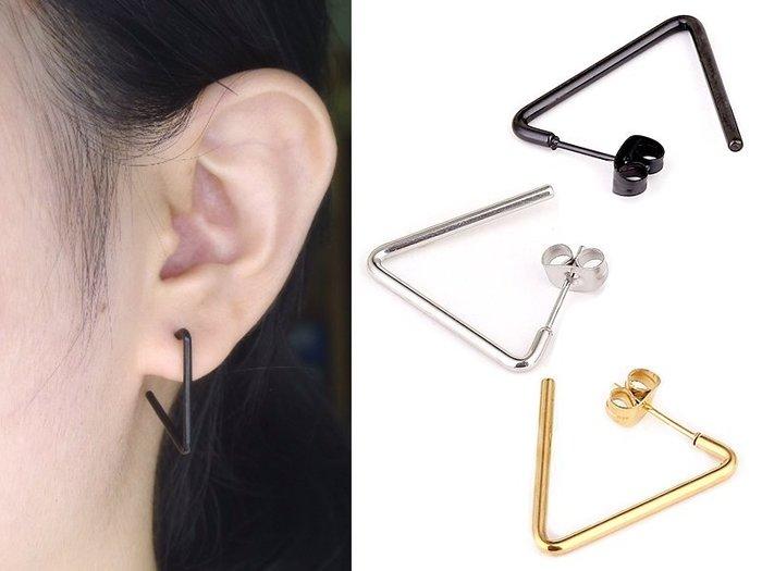 ☆追星☆ 3287(三色)三角形直桿 耳環(1個48元)鈦鋼防過敏 簡約中性款EXO耳釘耳針INFINITE歐美風