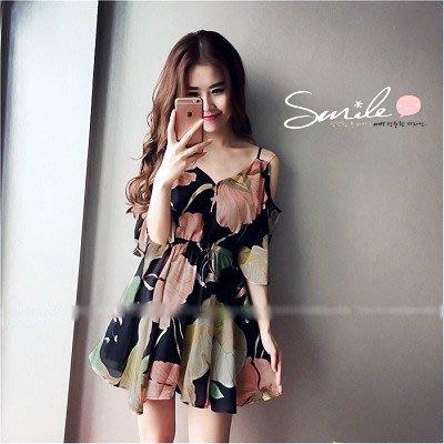 【V1808】SMILE-甜美漫舞.彩花V領收腰雙肩帶洋裝