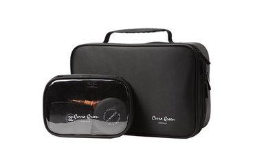 【愛來客】新款Cerro Qreen專業黑色布面雙層手提式化妝箱化妝包彩妝化妝刷收納箱 新秘/彩妝師