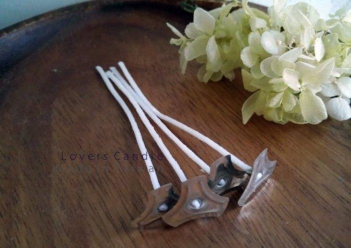 【蠟燭DIY材料】1入每條長20公分 100%純棉線過大豆蠟燭芯+大口徑鐵底座(組裝完成品)適合直徑7~10cm蠟燭