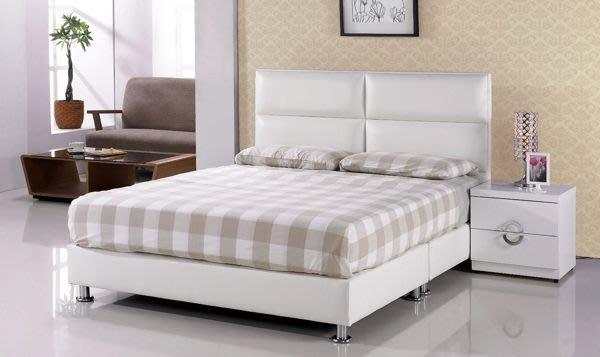 【DH】商品貨號N575-1商品名稱《班尼》5尺雙人白皮造型雙人床架(圖一)不含床頭櫃/可拆賣床頭片另計。主要地區免運費