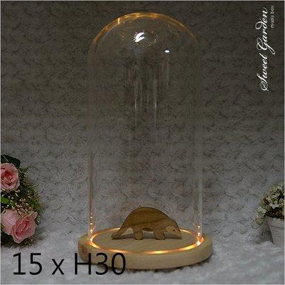 Sweet Garden, 15*高30cm玻璃罩+帶燈原木底座 LED燈 送電池 模型場景展示 永生花乾燥花設計