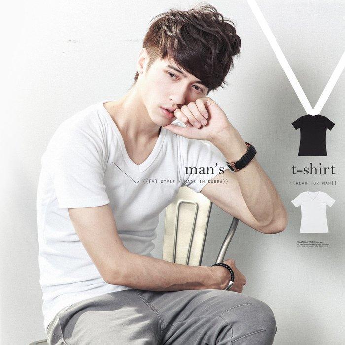 。SW。【K11157】正韓 韓國製 雅痞 不易鬆 不易皺!! 彈性棉質萊卡 黑白 素面 V領短袖T 百搭質感