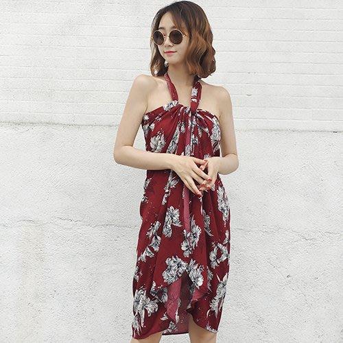 衣貝拉 - 度假風碎花連身裙 洋裝 長裙  海邊沙灘裙  (可兩穿)《 2色》【28564】Elbeira