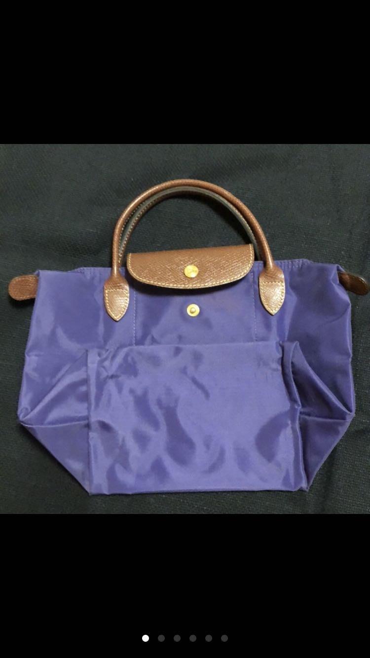 法國longchamp紫色S折疊購物袋手提袋