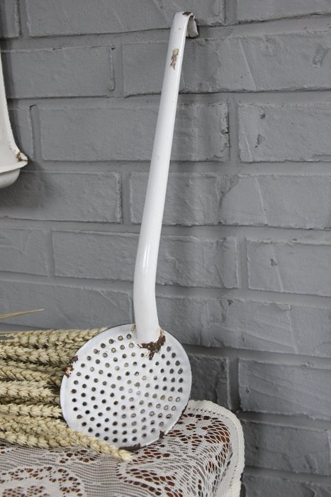 法國白色琺琅大湯匙 歐洲古董老件(00_AA-363)【小學樘_歐洲老家具】