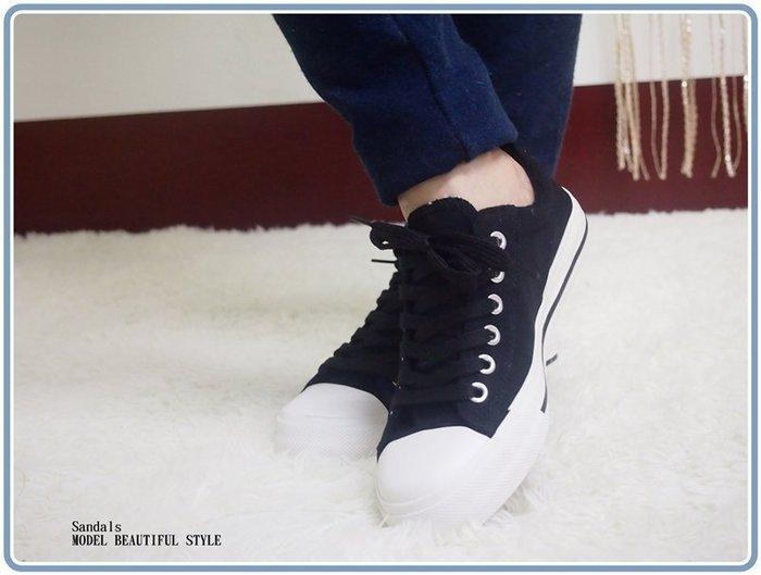 iris美鞋館 02~A50 側邊星星綁帶帆布鞋~黑 藍2色