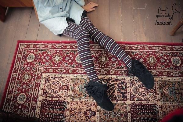 【拓拔月坊】日本知名品牌 M&M 彩色橫紋細直印 厚褲襪 日本製~現貨!