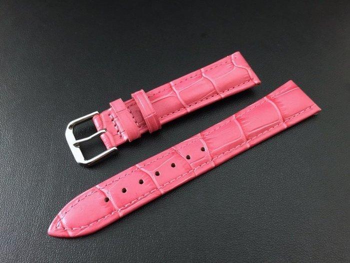 18mm收16mm桃紅色鱷魚紋錶帶,不鏽鋼製錶扣非swiss