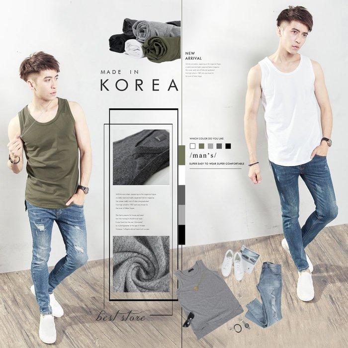 。SW。【K11569】韓國製 小防皺 彈性棉質不透膚 觸感舒適 前圓弧下擺後平 層次前短後長 5色 圓領長版背心 歐美