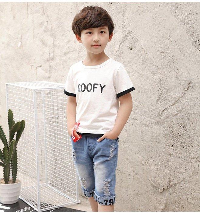 日韓歐美♥韓版 中大 男童 休閒字母上衣+牛仔短褲  兩件式套裝組合  暢銷熱賣款【E662】