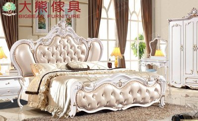 【大熊傢俱】 XSL 2015-07A 雙人床  新古典 床架 法式皮床 美式實木床 臥室家具 雙人床台