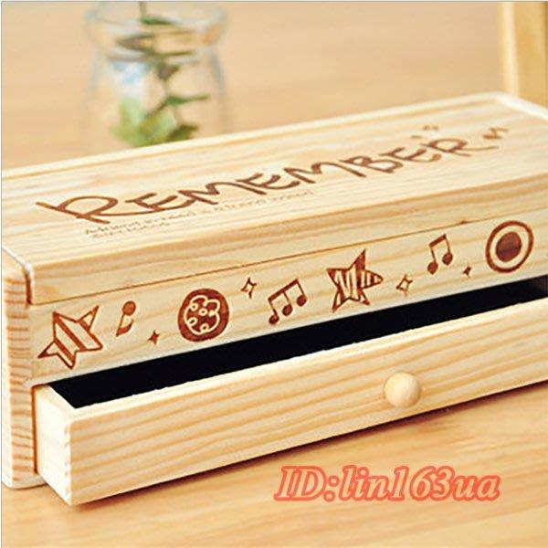 復古實木 學生木質鉛筆盒 簡約多 文具盒文具收納盒大容量