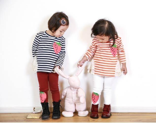 *小屁孩童裝* 甜美草莓貼布繡內搭褲
