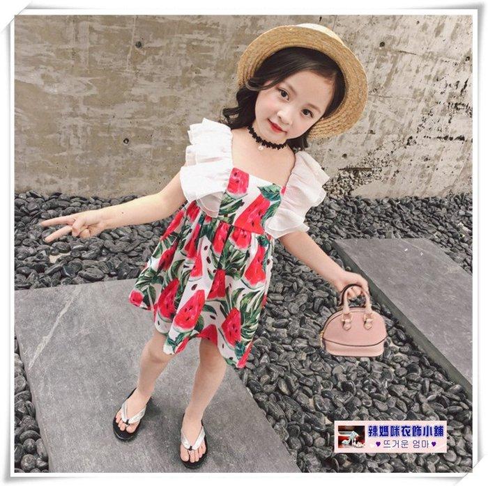 •*~ 辣媽咪衣飾小舖 ~*•❤童裝系列❤V030640韓版甜美洋氣沙灘渡假風公主款洋裝