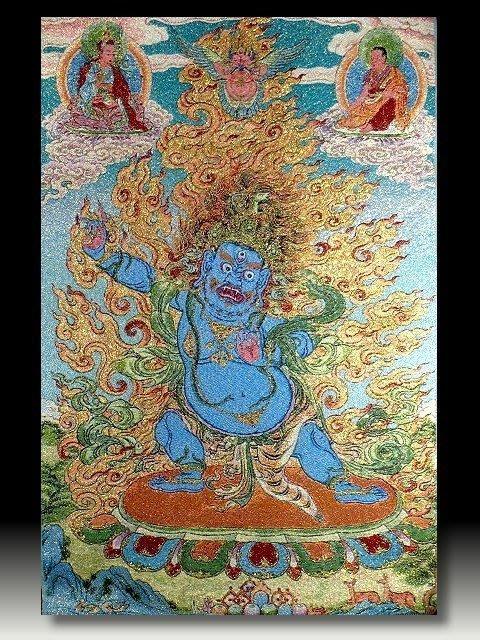 【 金王記拍寶網 】S713 中國西藏藏密佛像刺繡唐卡 密宗唐卡一張 完美罕見~