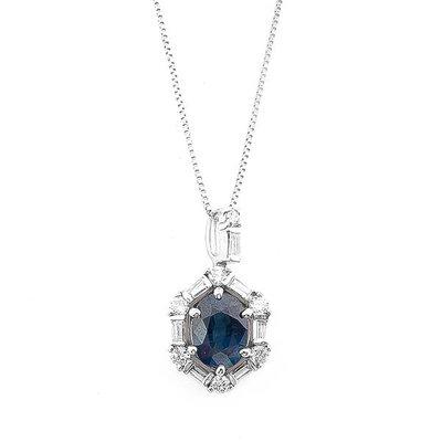 【JHT 金宏總珠寶/GIA鑽石專賣】1.01ct天然藍寶鑽墜/材質:14K(S00031)