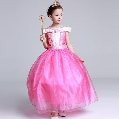 【Kathie Shop】睡美人Aurora奧羅拉公主女童公主裙禮服表演服攝影服萬聖節聖誕節派對服 無袖長款