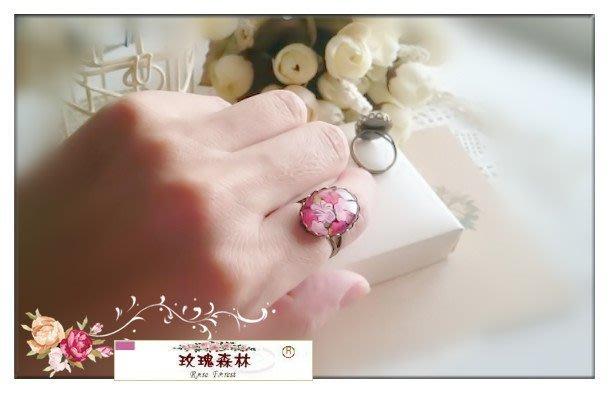 玫瑰森林-- ☆° 森女孩最愛zakka風 復古浪漫的花朵系列 橢圓玻璃寶石  戒指 no.3