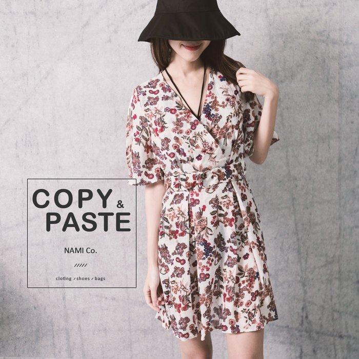 Copy&Paste【OP58】韓國訂單.V領飛飛袖顯瘦鬆緊收腰修身腰帶裝飾質感碎花好看小花雪紡連身裙洋裝 (現貨)