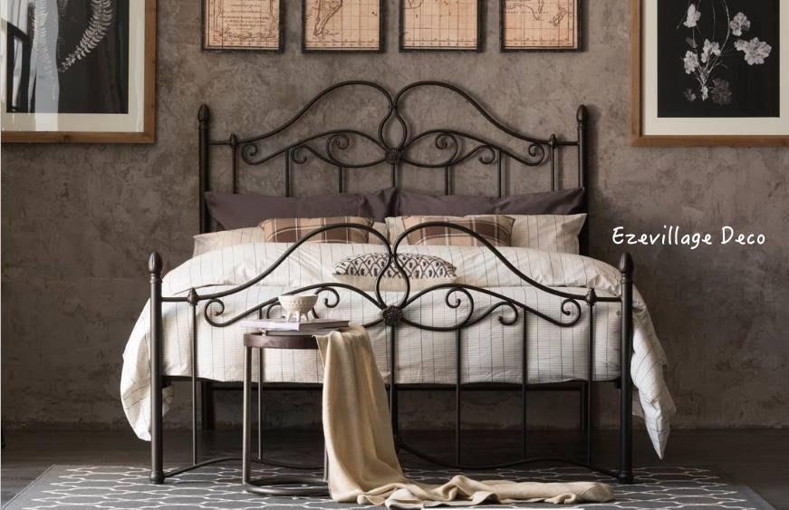 【Eze Art Deco】美國設計師傢飾,美式金屬復古床架,雙人床架.1.8加大雙人床架,可拆裝,鐵床架