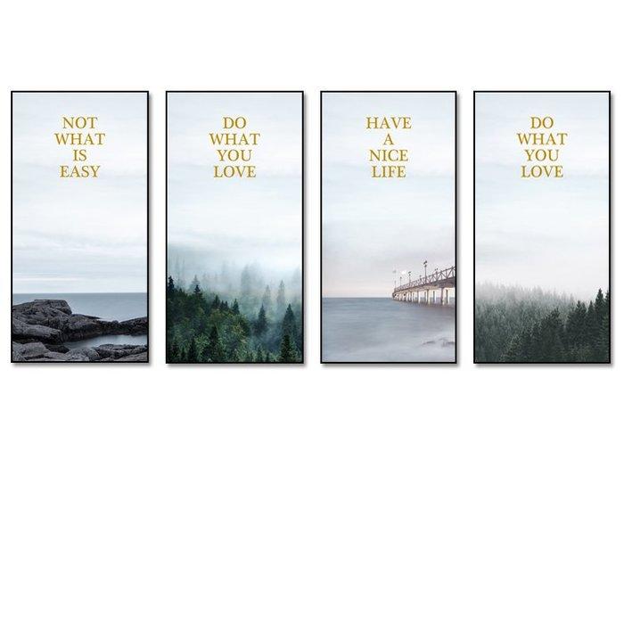ins北歐風格簡約海景大海森林字母高清微噴(4款可選)