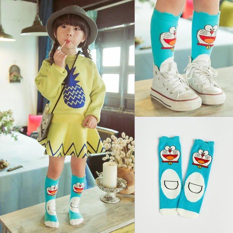 兒童襪子 卓上棉品童袜 韓版 卡通小叮噹 哆啦a夢純棉中筒襪