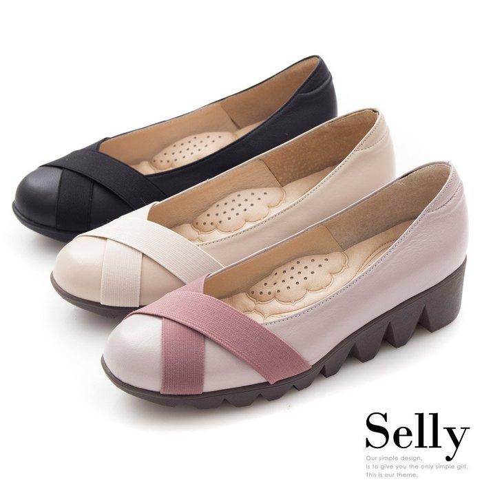 Selly *沙粒*(MIT76)MIT系列-牛皮交叉鬆緊帶厚底包鞋.三色