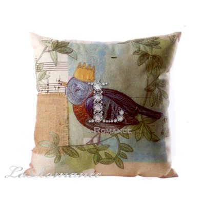 【Creative Home】Heart & Home 心戀家居系列小鳥棉麻刺繡抱枕 / 靠枕 / 靠墊
