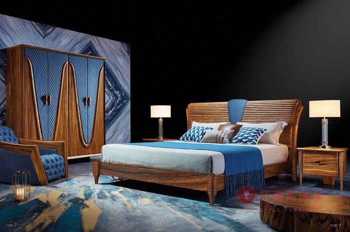 [紅蘋果傢俱] WJM-8011 烏金木系列 北歐床組 造型床架 頂級全實木床台 床頭櫃 五尺 六尺