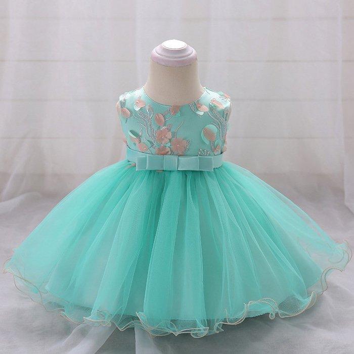 現貨 嬰幼女童拼色小花洋裝禮服18MM010529