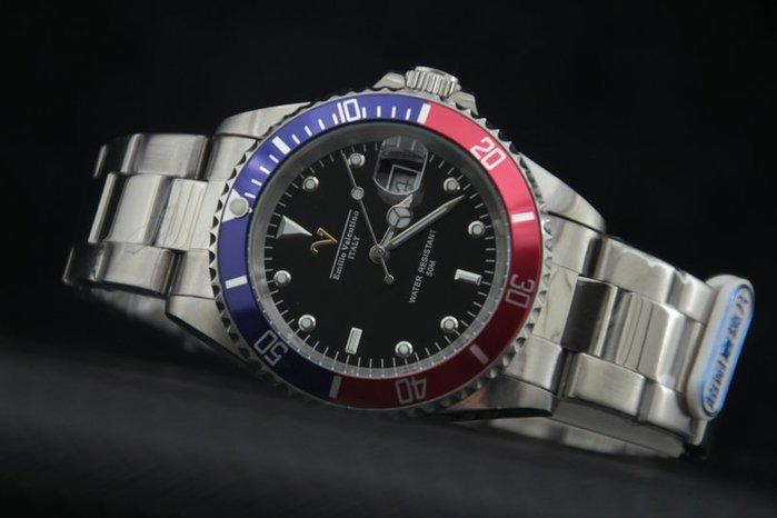 Emilio Valentino范倫鐵諾不鏽鋼百事可樂框水鬼submariner石英錶日本星辰機芯藍紅框黑面