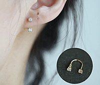 Vita!14K金U型2顆鑽螺絲耳環