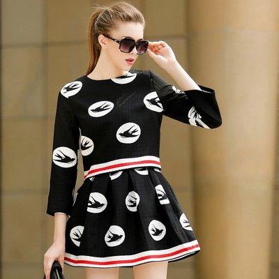 GOGO SHOP☆╭歐美新款七分袖圓領印花拉鏈上衣+百褶裙套裝【X9757】兩件式S~XL另外套吊帶褲ZARA洋裝