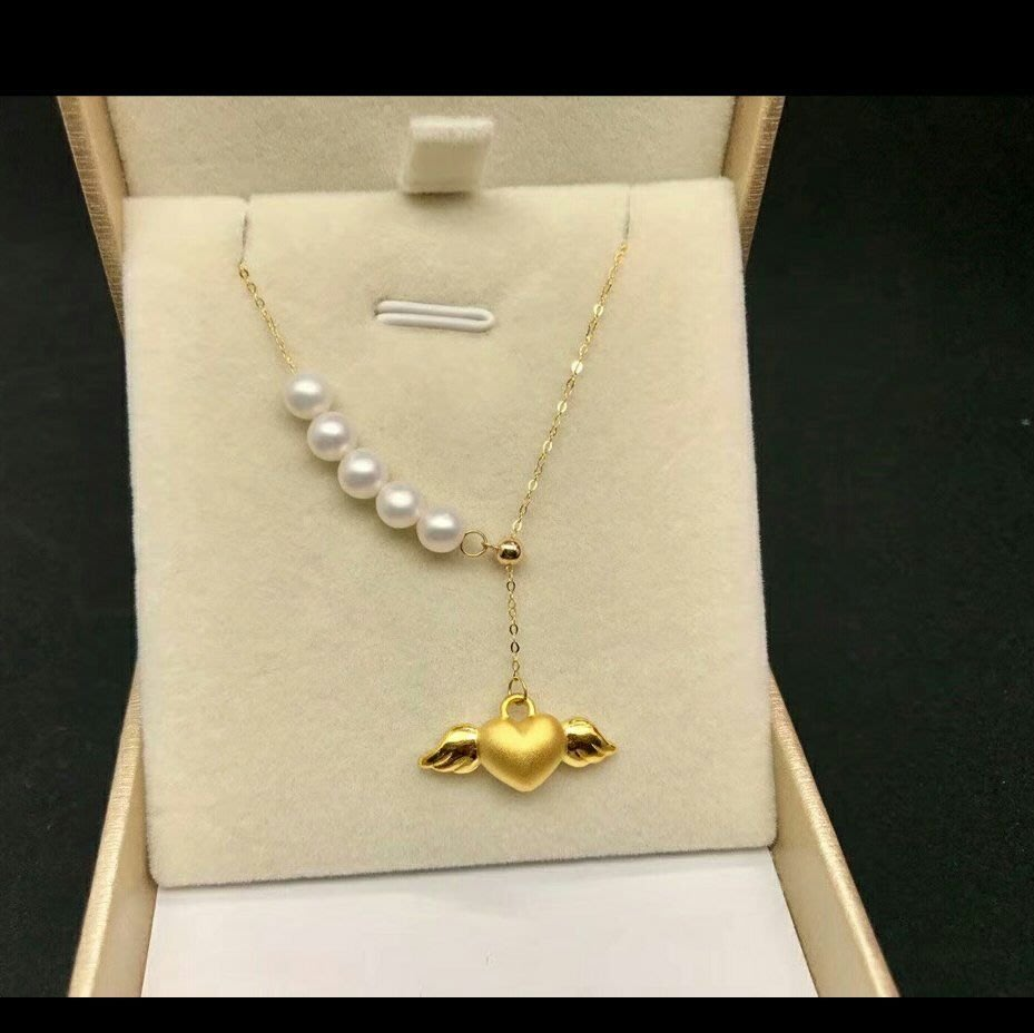 代購預購 3D硬黃金愛心天使天然珍珠項鍊