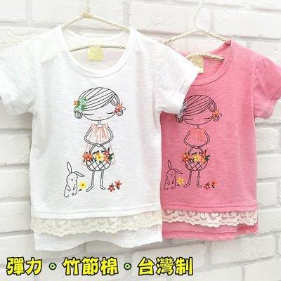 【班比納精品童裝】【台灣製】花朵女孩小兔蕾絲竹節棉T恤上衣-白/粉-二色可選【BQ16042102】