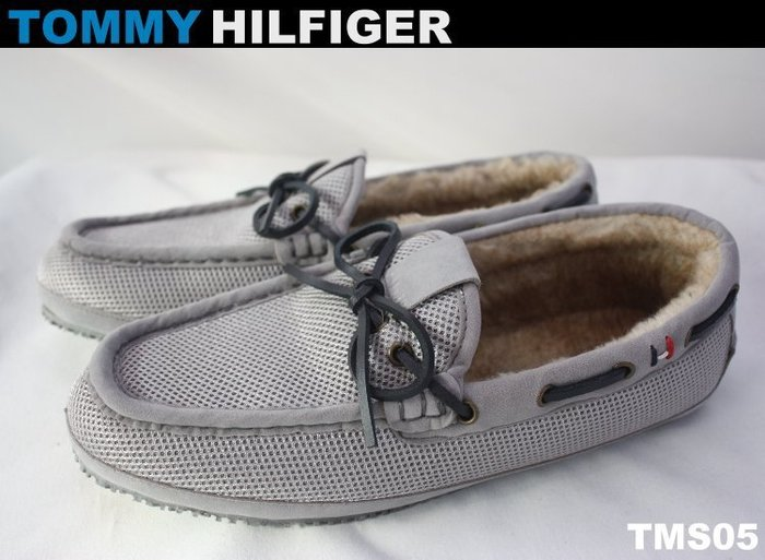 【TOMMY HILFIGER】100% 全新秋冬新品 時尚 淺灰透氣材質 內裡鋪毛 超保暖 男鞋 帆船鞋*TMS05*