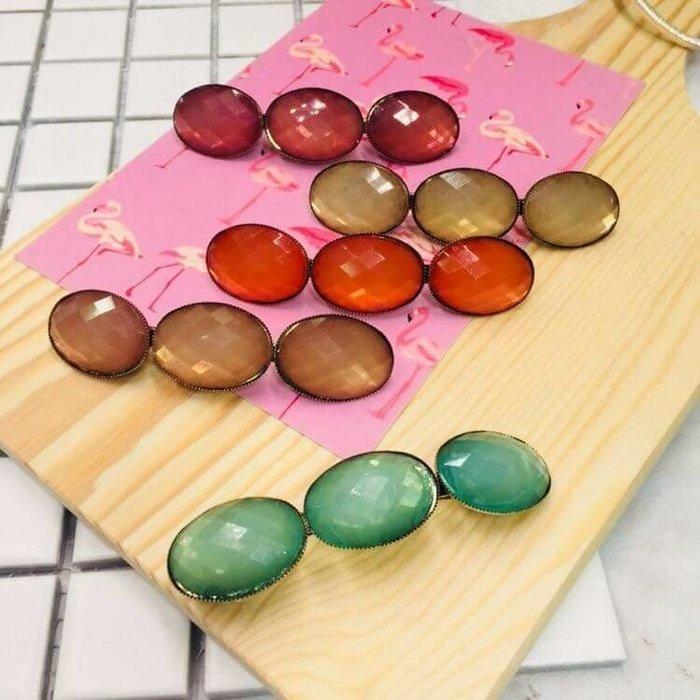 現貨 供應 茉莉 正韓 質感 髮飾 韓國 飾品 復古 質感 寶石 彈簧夾 適合夾瀏海