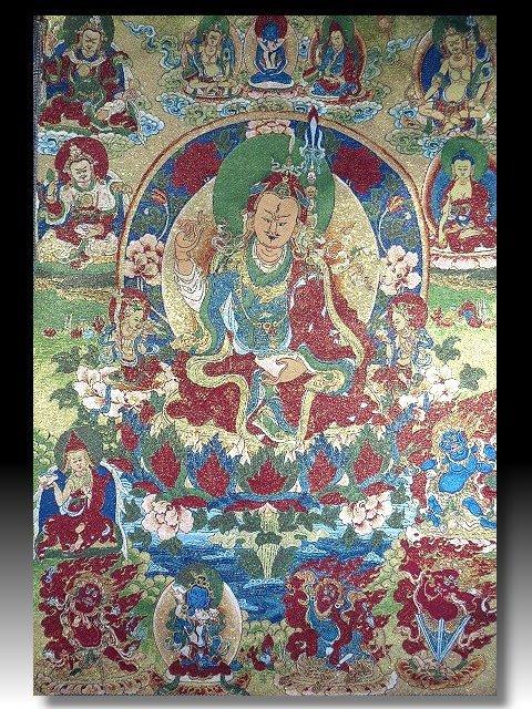 【 金王記拍寶網 】S1396  中國西藏藏密佛像刺繡唐卡 刺繡 (大張) 一張 完美罕見~