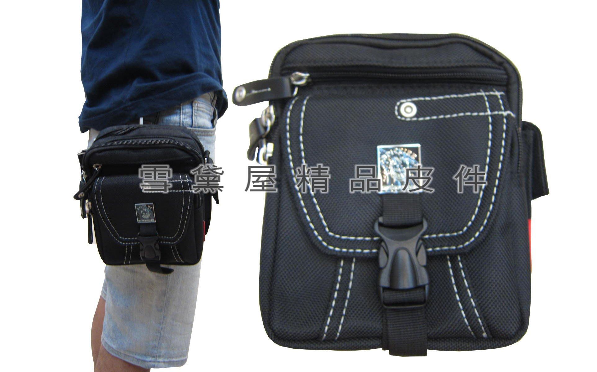 ~雪黛屋~SPITFIRE 腰包中容量外掛式腰包三用功能防水尼龍布+皮革材質可外掛可腰包斜側包工具包Q2261