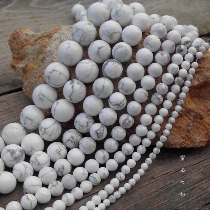 【 靈石之約 】 巴西 天然白松石4.5mm 天然原礦 白紋石半成品 串珠 條珠 圓珠 D