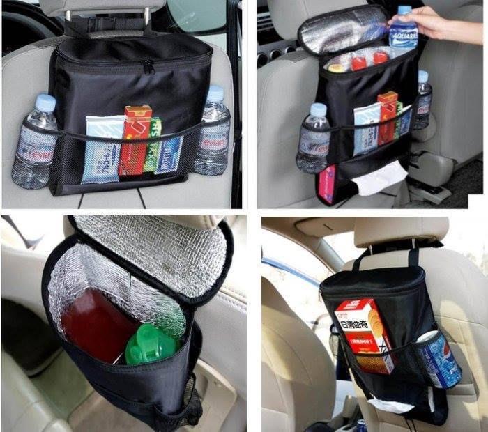 ~寶貝屋~黑色內有保溫多 置物包 置物袋 椅背掛袋 椅背收納袋 紙巾盒套 儲物袋